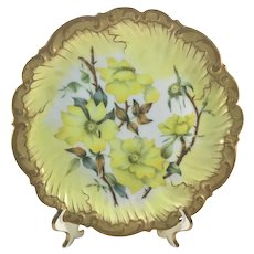 Limoges Yellow Wild Roses Plate