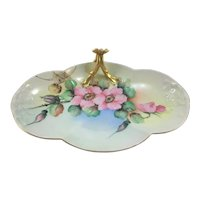 Limoges Flower Forked Candy Tray Pink Roses and Spider Web