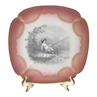 Limoges Winged Cherub Fishing Sepia Pink and Gold Honeycomb Plate