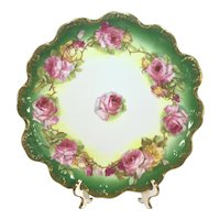 """Limoges 12 1/2"""" Art Nouveau Charger Pink Yellow Rose Garland"""