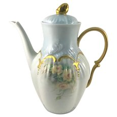 Limoges Chocolate Pot Yellow Roses Heavy Gold