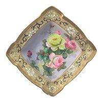 Nippon Fruit Bowl Pink Yellow Roses Gold Greek Key Moriage