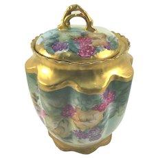 Victorian Porcelain Biscuit Jar Currants Heavy Gold