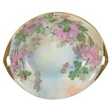 Porcelain Double Handle Nut Bowl Pink Peonies