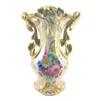 French Old Paris Gold Floral Handle Vase