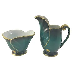 Erphilia Deep Turquoise Nautilus Shell Cream Pitcher & Sugar Bowl