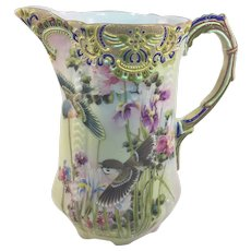Japanese Moriage Pitcher with Birds c.1890