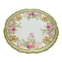 Limoges Plate Pink Roses Gold Flowers