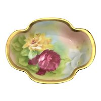 Limoges Gold Rimmed Nut Dish Red Yellow Roses