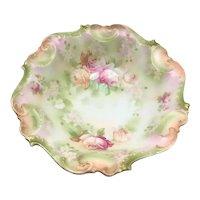 Art Nouveau Porcelain Center Bowl Pink Peach Roses c.1911