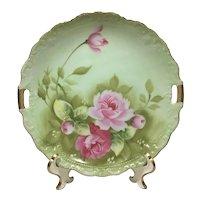 Lefton Heritage Green Gold Handled Cake Plate Pink Roses