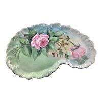 Limoges Art Nouveau Dresser Tray Pink Roses
