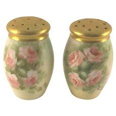 Bavaria Salt & Pepper Shakers Pink Roses Gold Tops