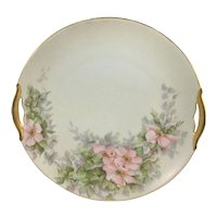 KPM Double Gold Handle Cake Plate Pink Wild Roses