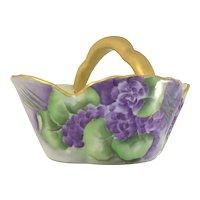 Victorian Porcelain Basket Purple Violets Heavy Gold Handle