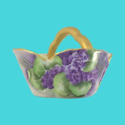 Victorian Porcelain Basket Purple Violets