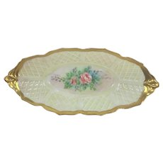 French Limoges Card Tray Pink Roses Basket Weave Mold