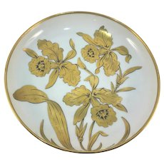 JH Stouffer Golden Orchid Shallow Bowl Signed M. Lawrence