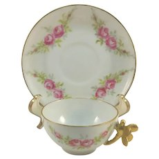 Limoges French Teacup and Saucer Dragonfly Handle