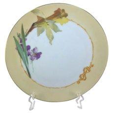 Bavaria Art Nouveau Plate Yellow Iris Purple Violets
