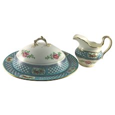 Mintons Covered Pancake Plate & Syrup Pitcher