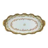 """Limoges 16"""" Oval Charger Platter Pink Rose Garlands Heavy Gold"""