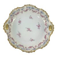 Coiffe Limoges Center Bowl Pink Roses Heavy Gold Medallion Handles