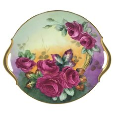 Limoges Double Gold Handle Charger Red Roses