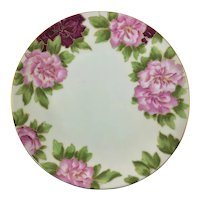 Limoges French Pink Peonies Plate Artist Signed Reig