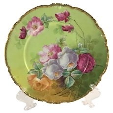 Limoges French Charger Pink Lavender Yellow Roses Signed Duval