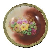 Victorian Center Bowl Pink Purple Yellow Roses Heavy Gold