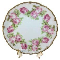 Limoges Pitkin & Brooks Pink Roses Plate