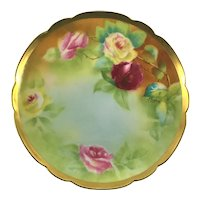 Limoges Heavy Gold Plate Red Pink Yellow Roses Signed Rougerie