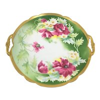 Limoges Double Handle Charger Pink Poppies