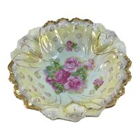 Victorian Center Bowl Pink Roses Blown Out Mold