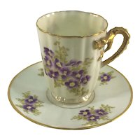Victorian Dragon Handle Demitasse Cup and Saucer