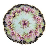 Nippon Cobalt & Gold Plate Purple Flowers