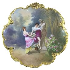 Limoges French Portrait Wall Plaque Charger Garden Maidens Signed Dubois