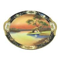 Noritake Black & Gold Swan on Lake Sunset Scene Double Handle Charger