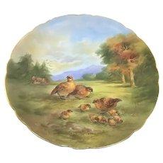 Limoges Charger Guinea Hens & Chicks Artist Signed Paul Putzki