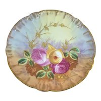 Limoges Plate Pink Yellow Roses Gold Rosebuds