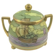 Nippon Double Handle Footed Jar Galleon Ships