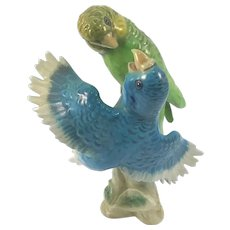 Goebel Hummel Porcelain Pair of Budgies Budgerigar Parakeets