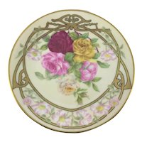 Limoges Art Nouveau Floral Roses Plate Heavy Gold