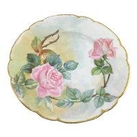 Haviland Limoges Art Nouveau Plate Pink Roses