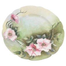 Haviland Limoges Plate Pink Wild Roses Artist Signed 1905