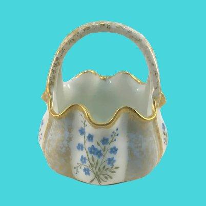Victorian Porcelain Basket Blue Forget-Me-Nots