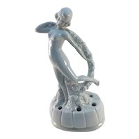 Art Deco Garland Girl German Porcelain Flower Frog