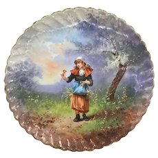 """Limoges 13 1/4"""" Portrait Charger Wall Plaque French Country Girl Signed Gayou"""