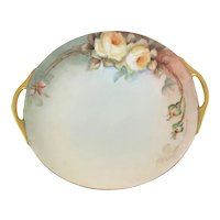 Bavaria Double Handle Cake Plate Yellow Roses